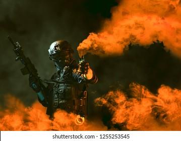 policía de soldado de fuerzas especiales, miembro del equipo swat usando bomba de humo