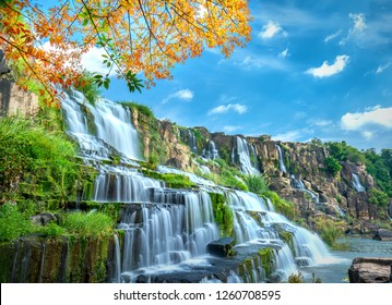 Mystischer Wasserfall mit Vordergrund ist Herbstlaub im Da Lat-Plateau, Vietnam. Dies ist bekannt als der erste südostasiatische Wasserfall in freier Wildbahn, der viele Touristen anzog