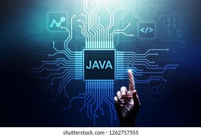 Java-Programmiersprachenanwendung und Webentwicklungskonzept auf virtuellem Bildschirm.
