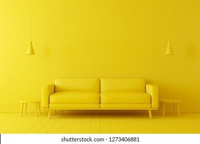Minimales Konzept. Innenraum des lebenden gelben Tons auf gelbem Boden und Hintergrund.
