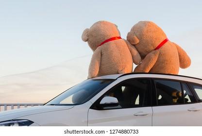 Riesige Teddybären mit roten Bändern sitzen oben auf der Motorhaube im Freien. Platz für Text. Liebe, Valentinstag Konzept