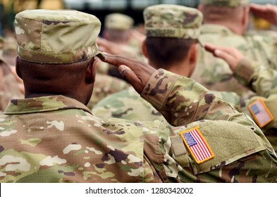 US soldier salute. US army. US troops. Military of USA.