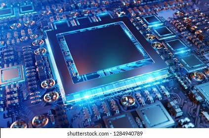 Vista cercana de una tarjeta GPU moderna con circuito y luces de colores y detalles de representación 3D