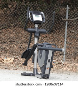 Discarded exercise equipment looks like a robot