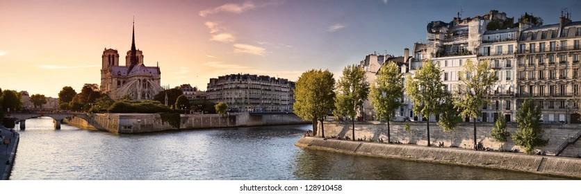 Notre Dame cathedral on Ile de la Cite in Paris, France seen from the Tournelle Bridge over River Seine. Part of Saint Louis Island on the right