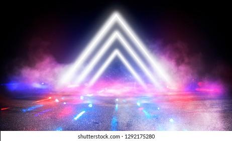 Futuristischer Hintergrund mit Neonformen eines Dreiecks, Reflexion, Rauch. Leerer Tunnel mit Neonlicht. 3D-Illustration