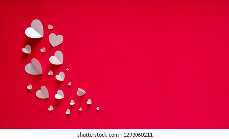 White Hearts Of Paper On Red Textured Background For Happy San Valentine Day. Happy Mother's Day