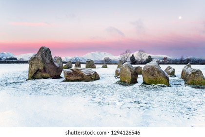 Winter sunrise at Castlerigg stone circle in the Lake District