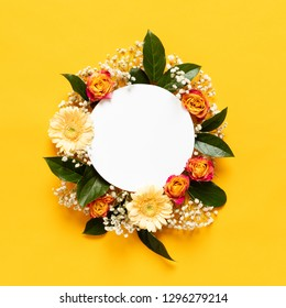 Happy Mother's Day, Women's Day, Valentine's Day or Birthday Background. Floral flat lay greeting card template with beautiful various flowers.