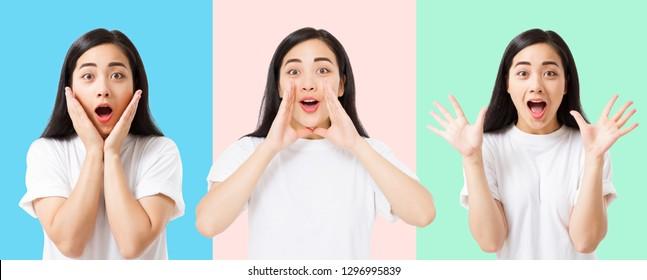Collage des überraschten schockierten aufgeregten asiatischen Frauengesichtes lokalisiert auf buntem Hintergrund. Junges asiatisches Mädchen im Sommert-shirt. Speicherplatz kopieren