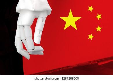 貿易戦争の関税。中国の人工知能は、グローバルな人種の支配、ニューラルネットワーク、ディープラーニングの概念ですべてのインダストリー4.0を混乱させます。ボックスとロボットハンドにフラグを立てます。