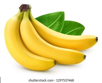 Tros bananen geïsoleerd op een witte achtergrond. Bananen met bladeren uitknippad. Professionele food fotografie