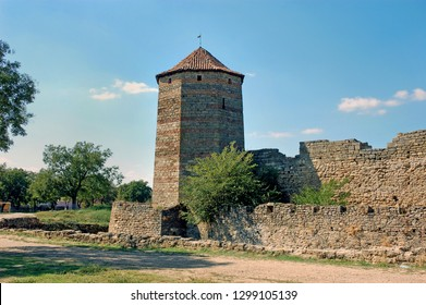 Fortress tower of the medieval ackerman fortress. Belgorod Dnestrovsky, Odessa region, Ukraine