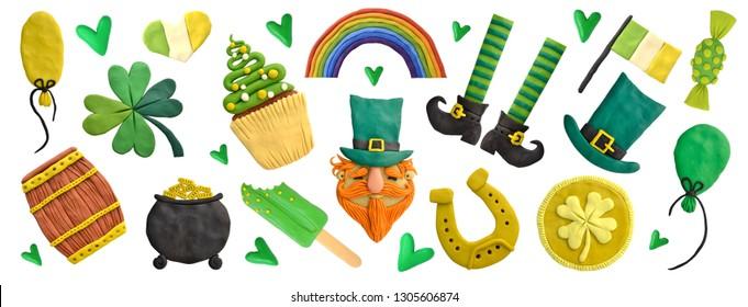 Plastilin. Handmodellierung. Set für St. Patrick's Day.