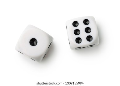 Top view of two white dices isolated on white
