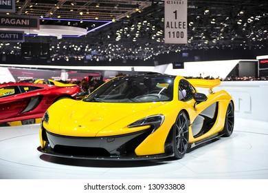 GENF, 5. MÄRZ: McLaren P1, Hybrid-Superauto von McLaren, vorgestellt auf dem 83. Genfer Autosalon in der Schweiz am 5. März 2013.