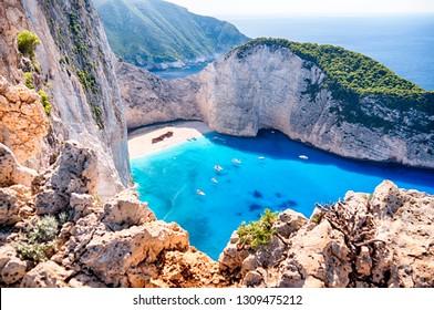 Navagio Strand mit dem berühmten zerstörten Schiff in Zante, Griechenland
