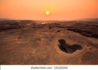 Rock holes Stone View Sam-Pan-Bok Grand Canyon in thailand