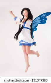 Beautiful anime girl with long hair and wings