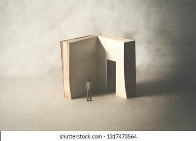 mutiger Mann, der in die Tür des Buches eintritt, Angst vor Weisheit