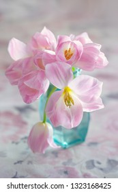 Lovely bunch of flowers .Close-up floral composition with a pink tulips.Beautiful fresh pink tulips.