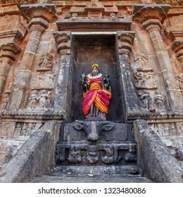 Durga (Mahisaurmardini) image. Airavatesvara Temple, Darasuram, Tamil Nadu, India. One of Great Living Chola Temples - UNESCO World Heritage Site.