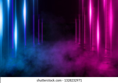 Background of an empty room with brick walls and neon lights, laser lines and multi-colored smoke