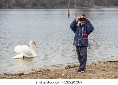 Un niño mira a los cisnes a través de binoculares.