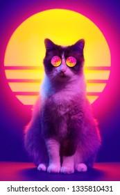 Retro-Wellen-Synth-Dampfwellenporträt einer Katze in der Sonnenbrille mit Palmenreflexion. 80er Jahre Sci-Fi futuristische Mode Tier Poster Stil violette Neon Ästhetik.