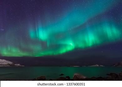 Nordlichter / Aurora Borealis an einem Fjord in Norwegen