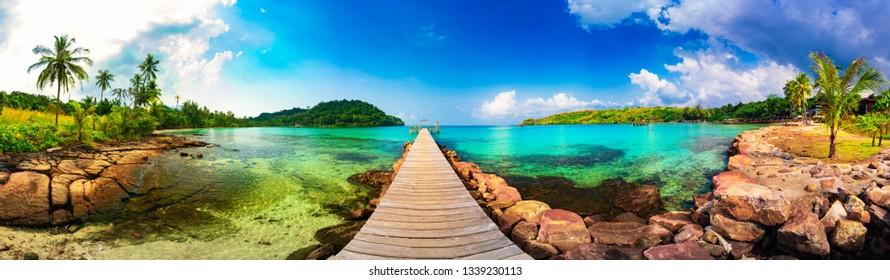 Jetty to a tropical beach