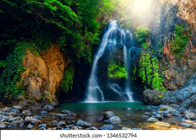 Waterfall. Image of magnificent waterfall flowing from the depths of the forest. Sudusen waterfall. Yalova, Bursa, Turkey.