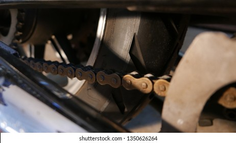 Tiro de macro de cadena de motocicleta