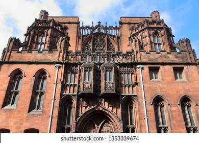 Manchester, Reino Unido. Arquitectura de la ciudad de Manchester, Reino Unido. Biblioteca John Rylands.