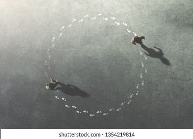 zwei Männer, die sich im surrealen Kreiskonzept folgen