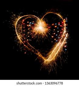 Sparkler heart on valentine's day