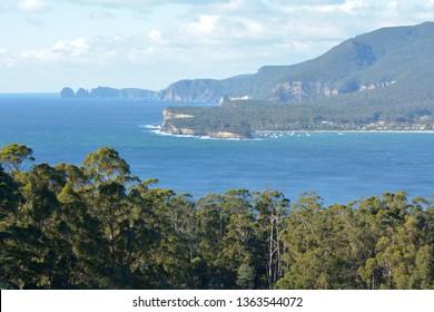 Landschaftsansicht des Mosaikpflasters in Pirates Bay auf der Tasmanischen Halbinsel in Tasmanien, Australien