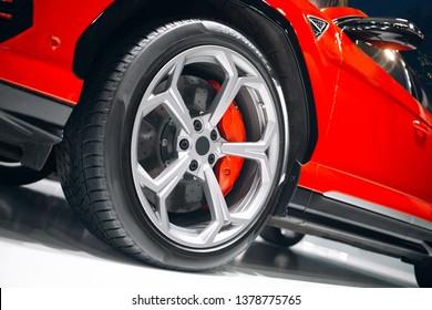 Modern luxury suv car front wheel
