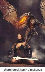 Fantasy Girl mit Drachenfeuer
