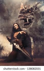 Fantasy Girl mit Drachen