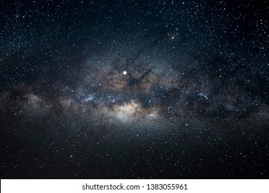 Milky way galaxy with stars and space dust in the universe. Long exposure.