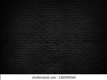 Abstracte zwarte bakstenen muur textuur voor patroon achtergrond. breed panoramabeeld.
