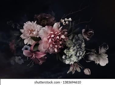 ヴィンテージの花。黒に牡丹、チューリップ、ユリ、アジサイ。花の背景。バロック様式の植物相図。