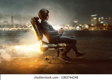 Businessman rolls on office chair with rocket motor