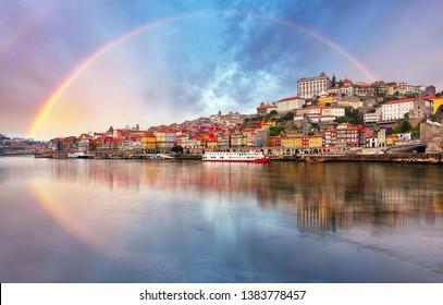 Porto with a rainbow, Portugal