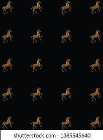 Pattern background made from figure of a brassy horse in stand up position over the black background - Image