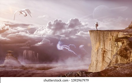 Composite Image of an Astronaut, watching strange life forms