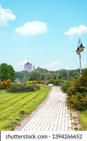 Feofaniya beautiful park landscape in Kyiv, Ukraine. The view on of Panteleimon s Cathedral in Theofaniya Park