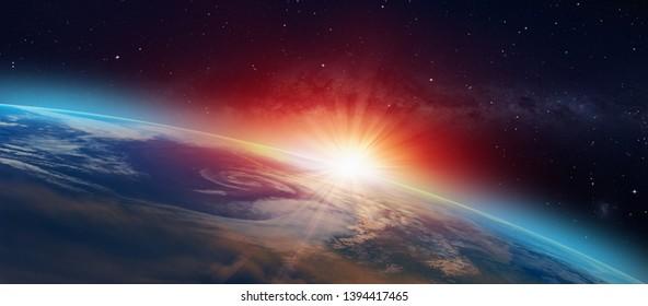 """Planet Erde mit spektakulärem Sonnenuntergang """"Elemente dieses Bildes von der NASA eingerichtet"""""""