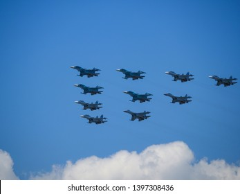 Military fighters in battle formation
